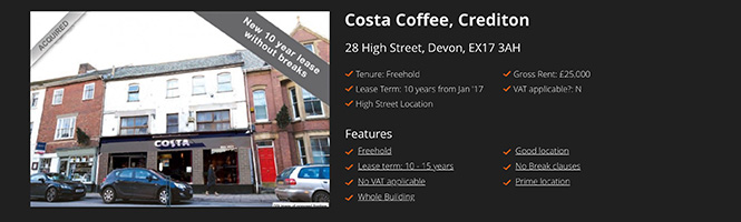 Restaurant investment: Costa Coffee, Crediton